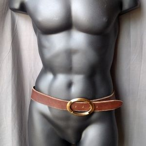 Dolce & Gabbana Belt Brass Buckle Brown Leather 42
